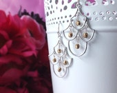 Indian inspired silver chandelier drop earrings with gold czech glass beads