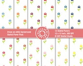 Digital Scrapbook Flower Paper - Irisies on white background - 12x12, 300 dpi - Instant Download - Printable Layer
