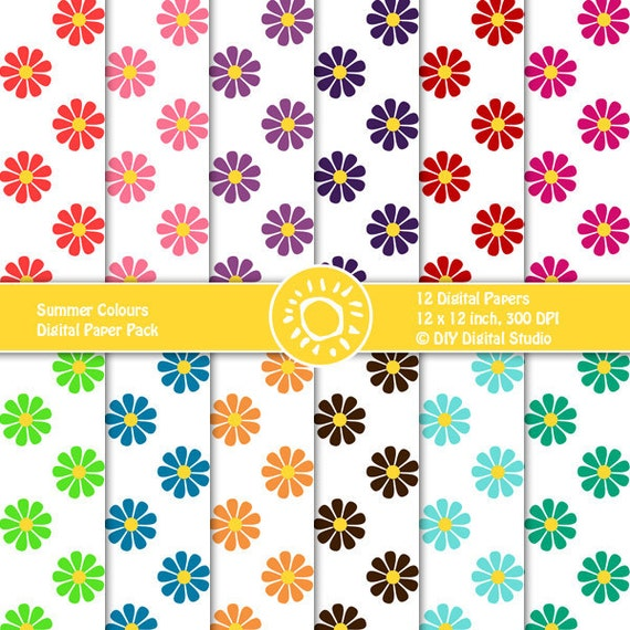 Flourish Digital Paper Pack. Colorful Daisies on white background. Instant Download. 12x12, 300 dpi.