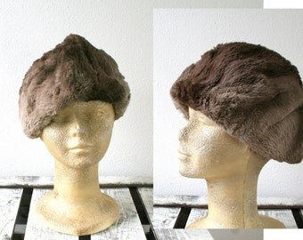"Beaver fur hat, vintage hat, brown and gray shades, 23"" 58cm, winter fashion"