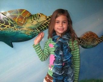 Handmade blue ruffle scarf