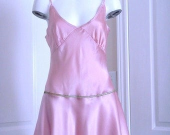 Silk Pink Negligee with flared skirt