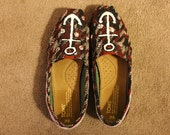 Women's Custom Hand Painted Anchor Toms with Silver Appliques & Laced Heels (Size 8)