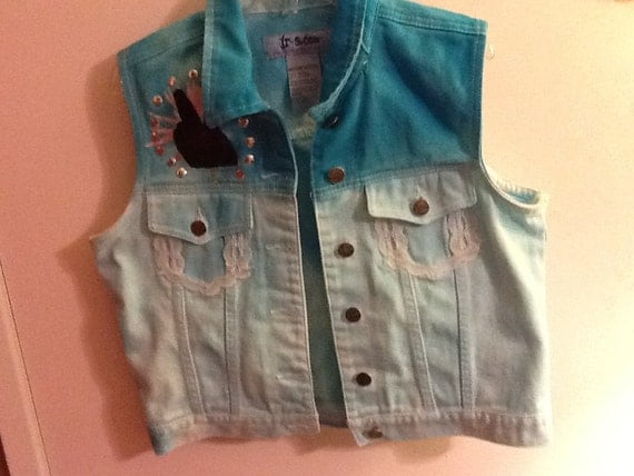 Retro Tye-Dye Hand Painted Peace Denim Vest and Lace Outlined Pockets (Size Medium)