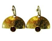 Klimt Inspired Garnets set in 22K Gold over Sterling Silver