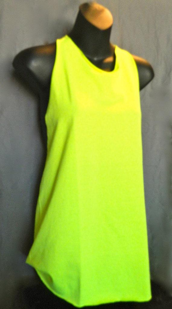 Hi Lite Yellow Gym Burnout Cut Workout Tank Tee Yellow/Blue