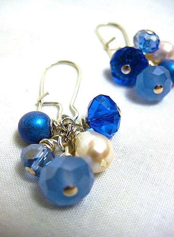 MADAKET earrings - blue and pearl cluster - sterling silver - beach earrings