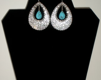 Bohemian Hammered Silver Drop Hoops With Turquoise Stone