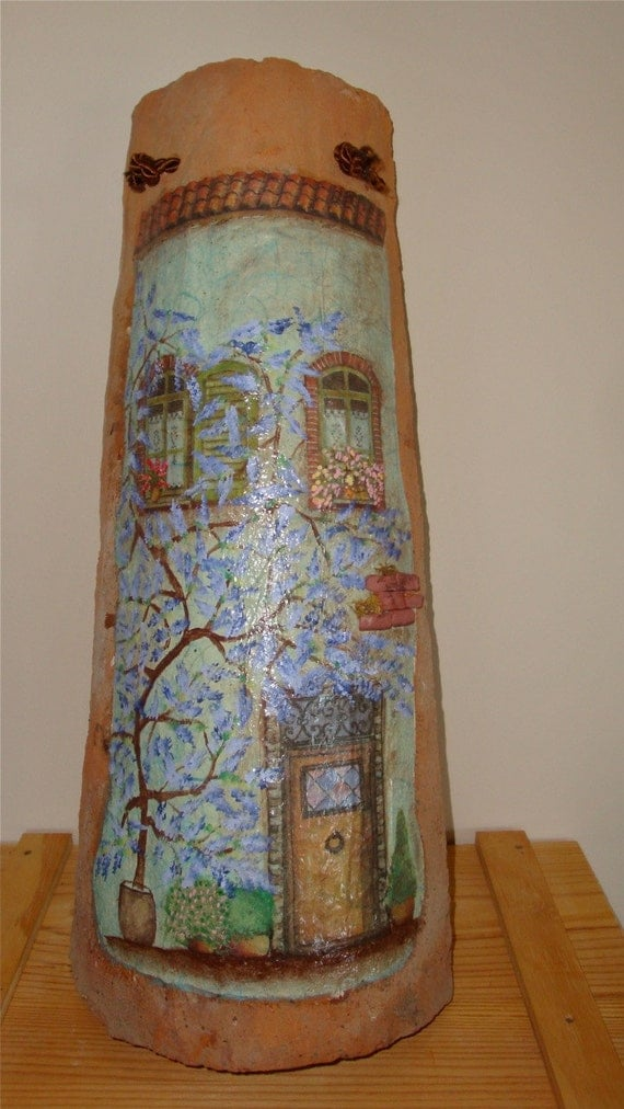 Il Glicine Hand Painted Decoupaged Antique Italian Roof Tile