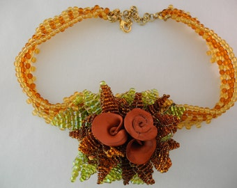 Beaded Necklace: Ring Around A Rosy One-Of-A-Kind  and Polymer Clay Choker