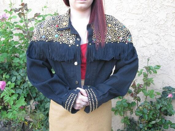Price Reduced- Black denim studded, bejeweled, fringed, custom, funky jacket, Size Large