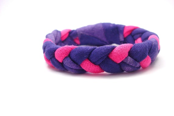 T Shirt Bracelet Pink and Purple Recycled Bleached T Shirt Womens Accessories