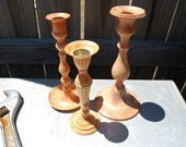 Upcycled Buirnt Orange and Cream Brass Candle Sticks