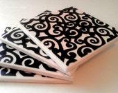 Black Curls Ceramic 4 Coaster Set