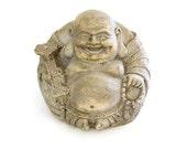 vintage laughing fat buddha statue - bodhisattva - Maitreya Budai Hotei - carrying prayer beads