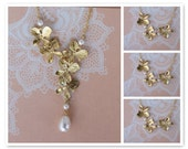 1 Bridal and 3 Bridesmaids Orchid Necklaces with Swarovski Pearls Gold Filled Chain Bridesmaid Jewelry, Bridal Jewelry