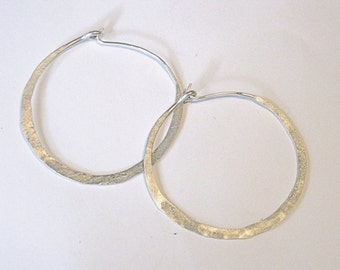 Sterling Silver Hand made Forged Hoops