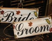 BRIDE GROOM Wedding Chair Signs/Fall Autumn Leaves/Photo Prop/U Choose Colors/Great Shower Gift/Rustic/Vineyard/Woodland