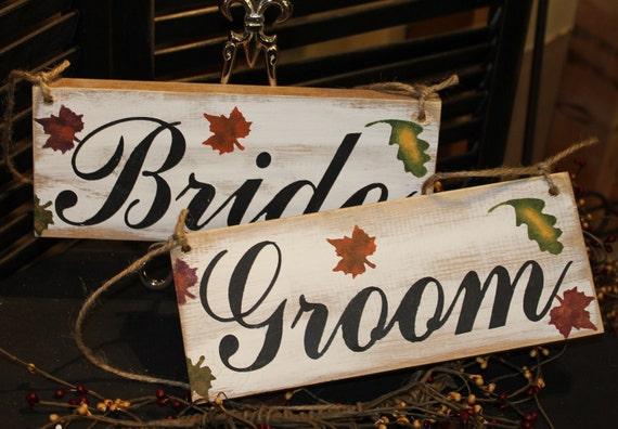 BRIDE GROOM Wedding Chair Signs/Fall Autumn Leaves/Photo Prop/U Choose Colors/Great Shower Gift/Rustic/Vineyard/Woodland
