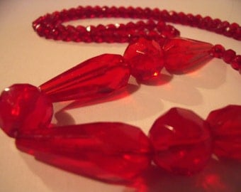 Cut Glass Crystal Beads Saucy Ruby Fire Red Flapper Necklace