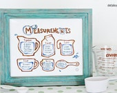 "Chef Julie Yoon - Cooking Measurements & Equivalents Illustration, Kitchen Art, 8x10"" Print"