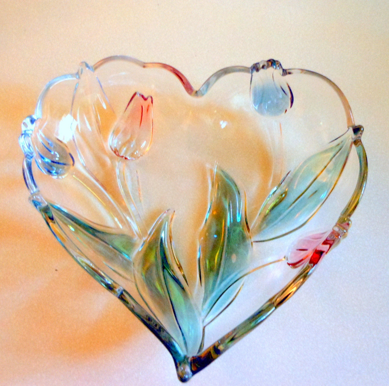 Mikasa Walther Glas Tivoli Lead Crystal Bowl Heart Vintage