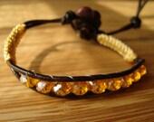 Yellow crystal and macrame bracelet