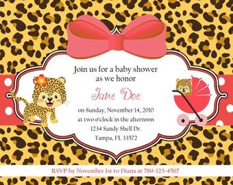 Leopard Baby Shower Invitation   DIGITAL IMAGE
