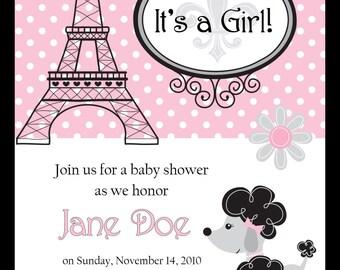 Paris Poodle Baby Shower Invitation - DIGITAL IMAGE
