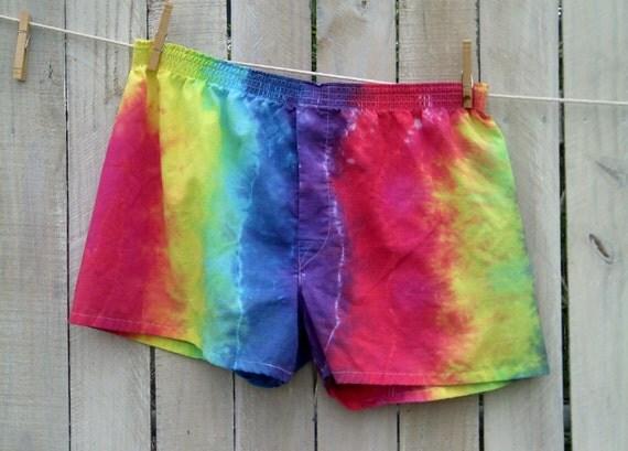 ROY G BIV Tie Dye Rainbow Boxer Shorts Adult X-Large