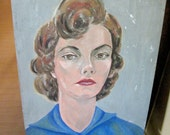 Cavette - Incredible 1950's woman face painting portrait Mid Century Art work