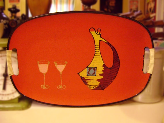 Kitschy Mid Century Serving Tray- Wine Jug and Glasses