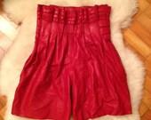 Chloé High Waist Leather Shorts