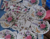 SEVEN   Broken China Mosaic Focal, Roses, Hand Cut Mosaic Tile, Mosaic Supplies, Shabby Chic Roses