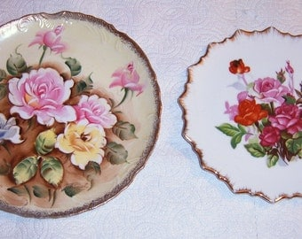 Vintage, Porcelain Collector Plates, Roses, Wall Hanging, Shabby Chic, Dee Bee Co. Collectible