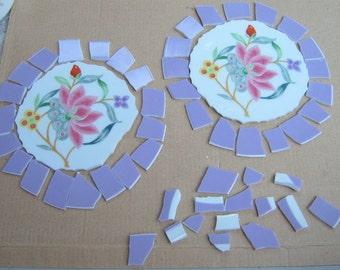 Broken China Mosaic Focal  tiles, Floral, Hand Cut tiles, Mosaic supplies, Lavender China