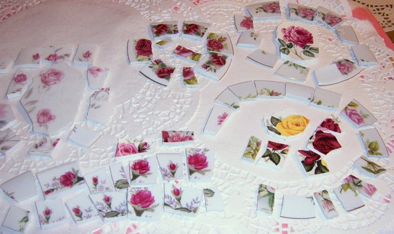 50% OFF  Broken China Mosaic Focal, Mosaic Tiles, Roses, Mosaic Supplies, Jewelry Supplies