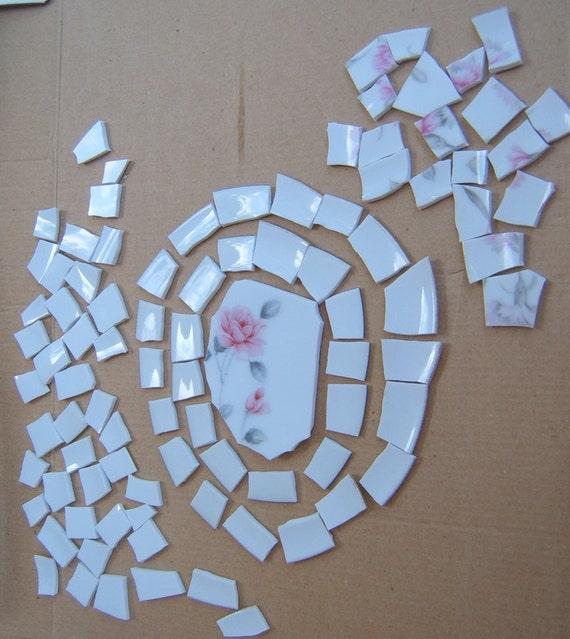 Broken China Focal, Mosaic China Tiles, Mosaic Supplies, Hand Cut Tiles