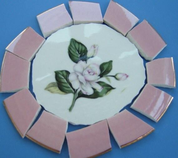 Broken China Focal, Mosaic Supplies,Vintage,Glewood, Internation D. S. Co. roses, China Tiles