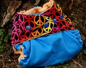 One Size Pocket Diaper - Bright Peace Sign on Blue Two Tone