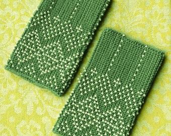 Mint green beaded wrist warmers