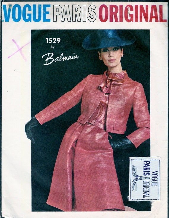 Vogue 1529 Vintage 1960s Balmain Designer Jacket, Blouse and Skirt Sewing Pattern With Label Size 12