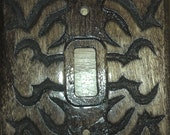 Hand carved wood light switch cover