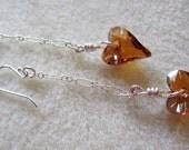 Swarovski Topaz wild Heart Crystal & Sterling Silver Earrings