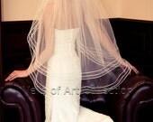 """2T Fingertip Bridal Wedding Veil 1/8"""" Satin Cord Trim VE210 white, ivory NEW CUSTOM VEIL"""