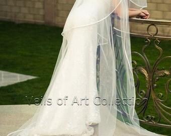 "3T Cathedral Bridal Wedding Veil 3/8"" Satin Trim VE180 white ivory"