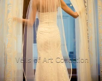 "1T Waltz Floor Bridal Wedding Veil 3/8"" Satin Trim VE203 white or  ivory"
