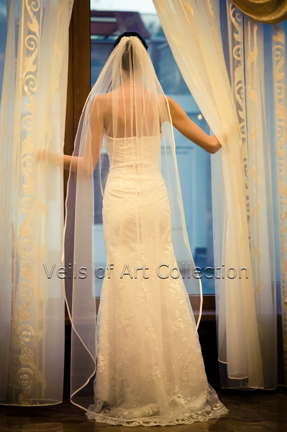 "1T Waltz Floor Bridal Wedding Veil 3/8"" Satin Trim VE203 white or  ivory"