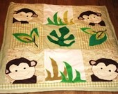 Baby Floor quilt, Baby Play Mat, Baby Patchwork Quilt, Cot Bed Quilt, Monkey Themed Baby Quilt