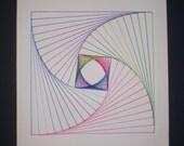 Original Handmade Parabolic Line Design String Art Colorful